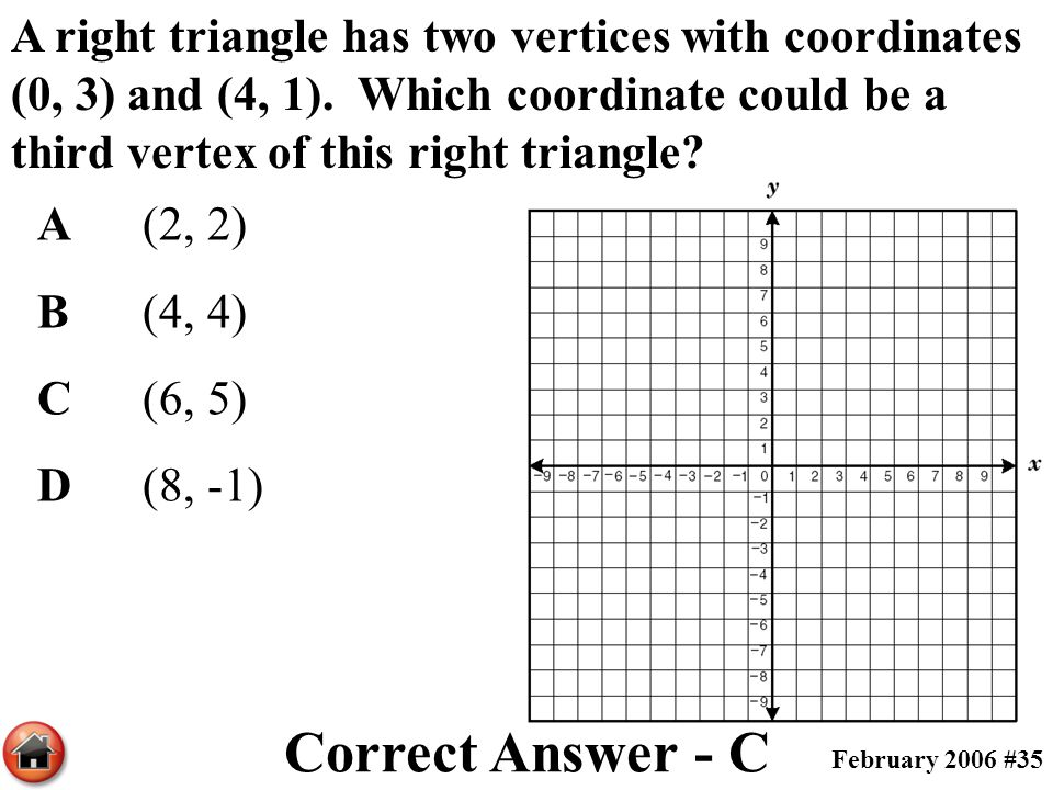 A right triangle has two vertices with coordinates (0, 3) and (4, 1)
