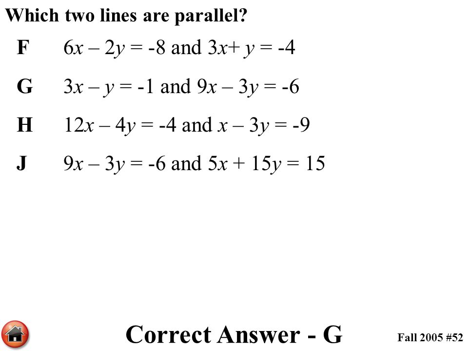 Correct Answer - G F 6x – 2y = -8 and 3x+ y = -4