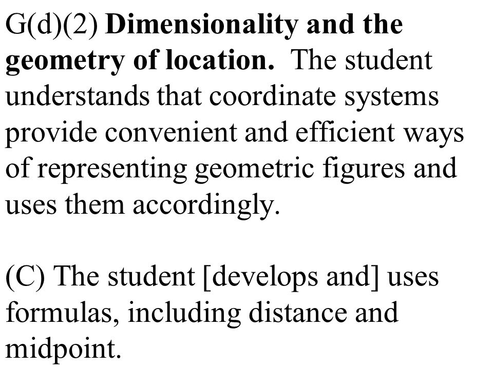 G(d)(2) Dimensionality and the geometry of location