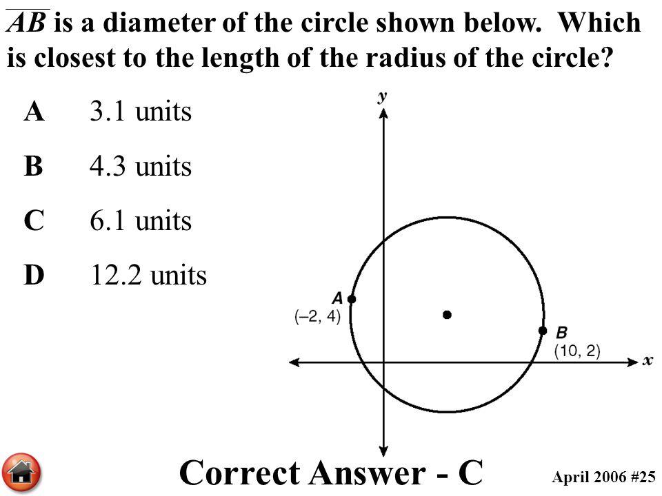Correct Answer - C A 3.1 units B 4.3 units C 6.1 units D 12.2 units