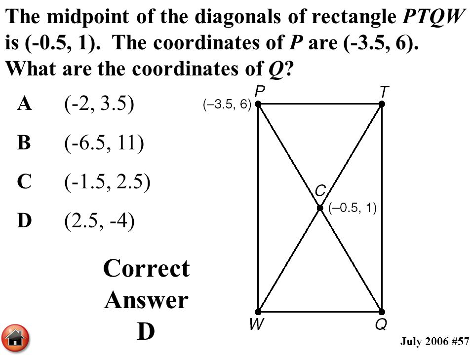 The midpoint of the diagonals of rectangle PTQW is (-0. 5, 1)