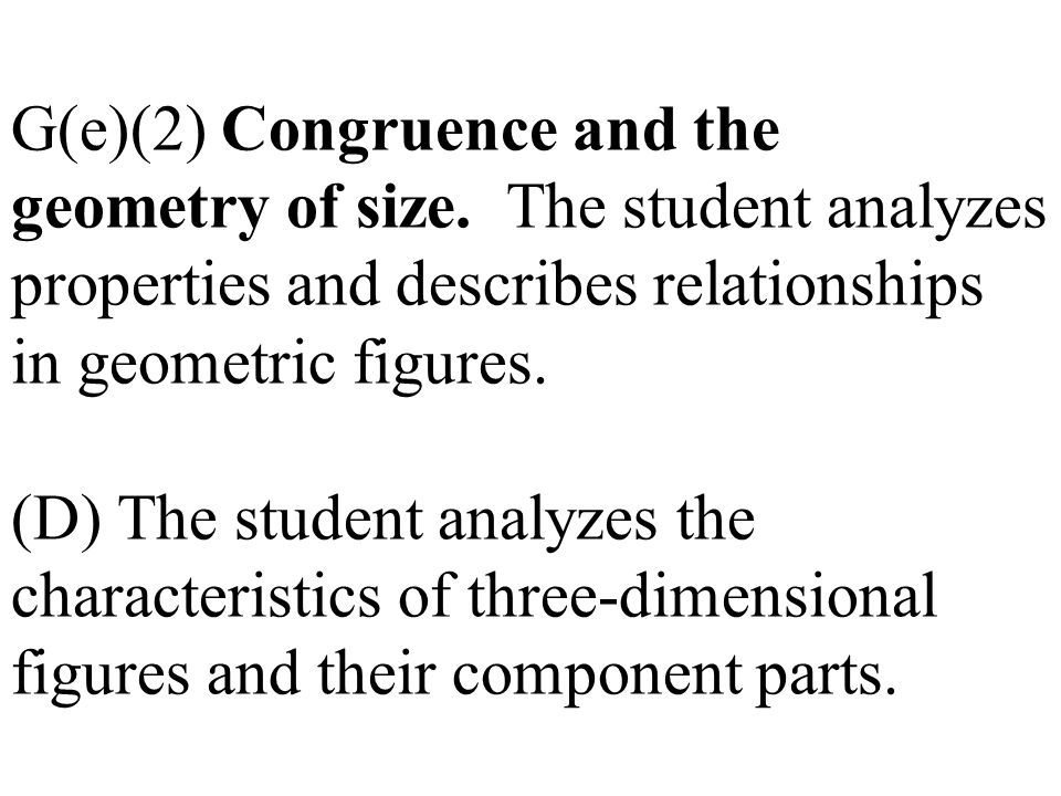 G(e)(2) Congruence and the geometry of size