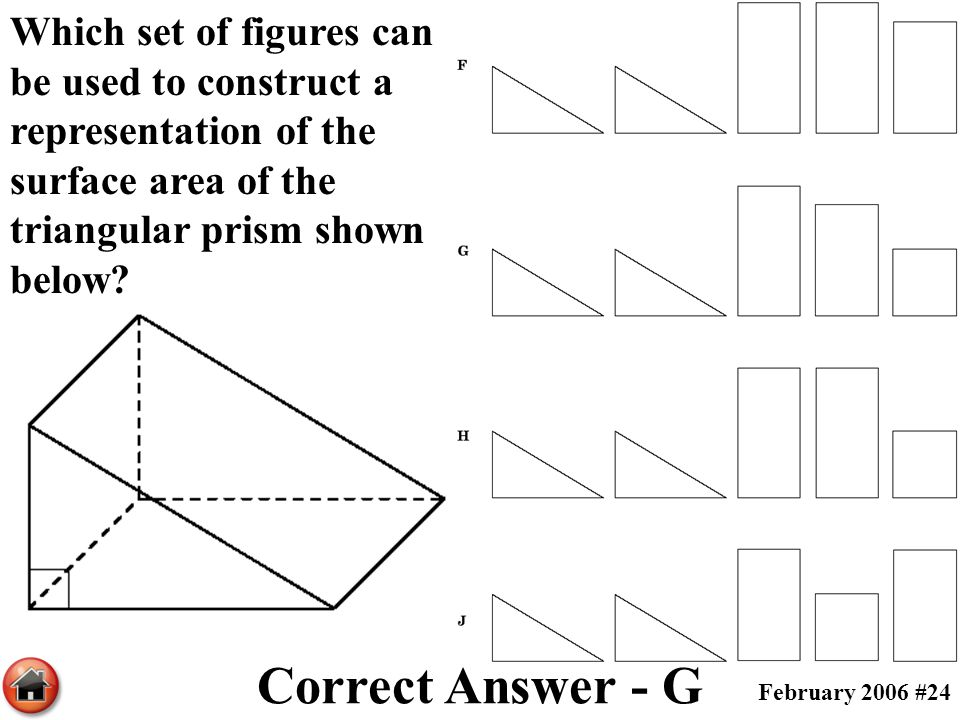 Which set of figures can be used to construct a representation of the surface area of the triangular prism shown below
