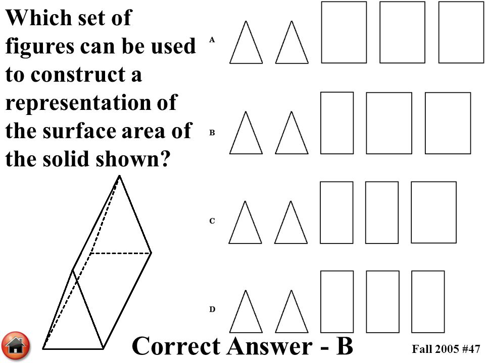 Which set of figures can be used to construct a representation of the surface area of the solid shown