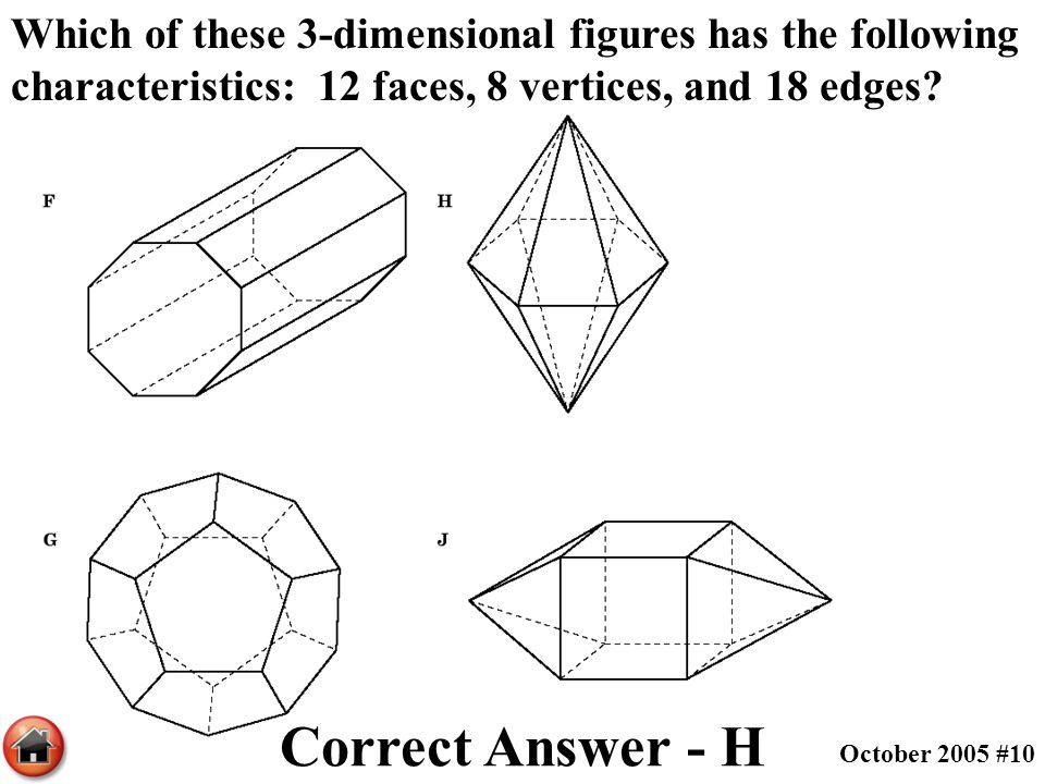 Which of these 3-dimensional figures has the following characteristics: 12 faces, 8 vertices, and 18 edges
