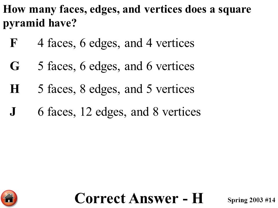 Correct Answer - H F 4 faces, 6 edges, and 4 vertices