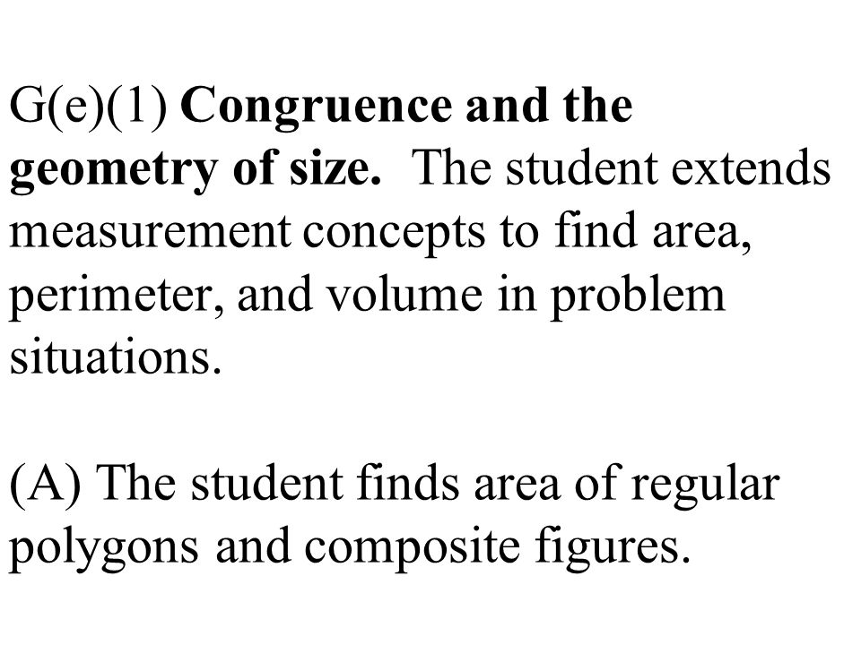 G(e)(1) Congruence and the geometry of size