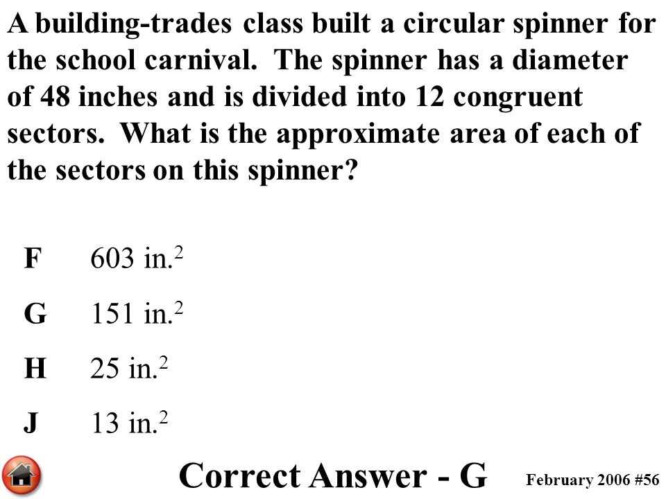 A building-trades class built a circular spinner for the school carnival. The spinner has a diameter of 48 inches and is divided into 12 congruent sectors. What is the approximate area of each of the sectors on this spinner
