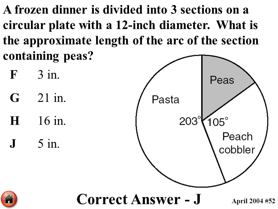 A frozen dinner is divided into 3 sections on a circular plate with a 12-inch diameter. What is the approximate length of the arc of the section containing peas