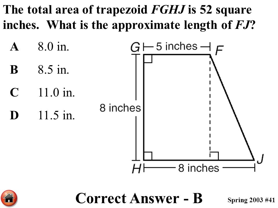 The total area of trapezoid FGHJ is 52 square inches