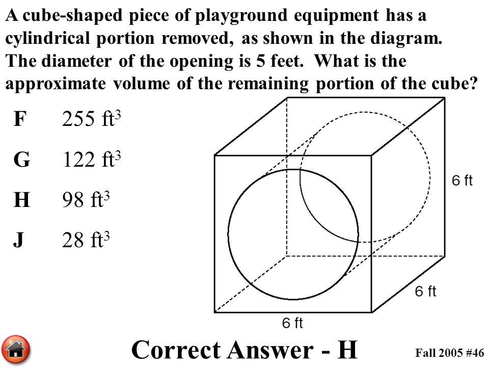Correct Answer - H F 255 ft3 G 122 ft3 H 98 ft3 J 28 ft3
