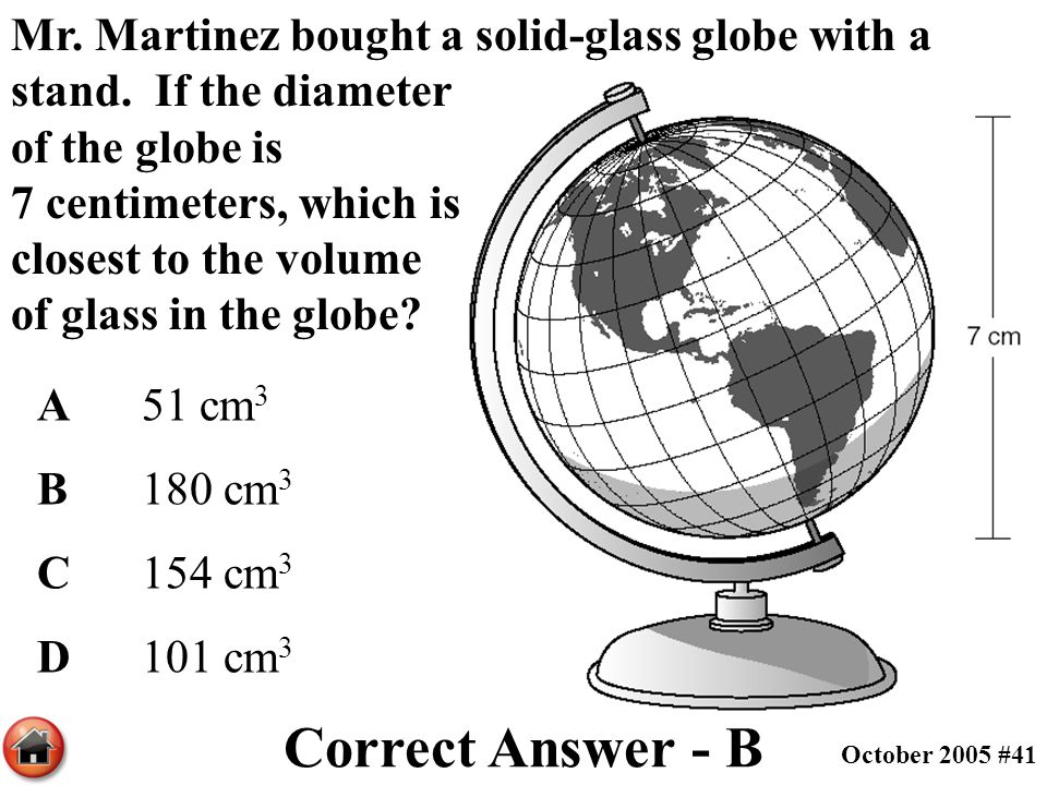 Mr. Martinez bought a solid-glass globe with a stand