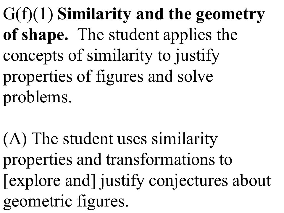 G(f)(1) Similarity and the geometry of shape