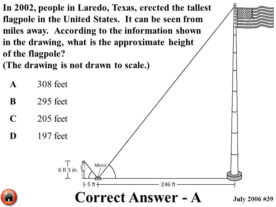 In 2002, people in Laredo, Texas, erected the tallest flagpole in the United States. It can be seen from miles away. According to the information shown in the drawing, what is the approximate height of the flagpole (The drawing is not drawn to scale.)