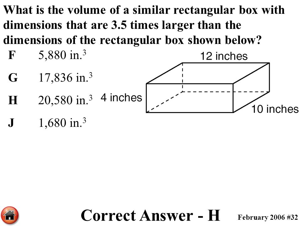 What is the volume of a similar rectangular box with dimensions that are 3.5 times larger than the dimensions of the rectangular box shown below