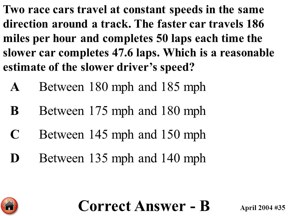 Correct Answer - B A Between 180 mph and 185 mph