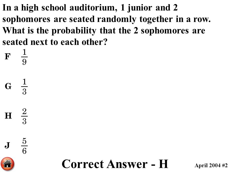In a high school auditorium, 1 junior and 2 sophomores are seated randomly together in a row. What is the probability that the 2 sophomores are seated next to each other