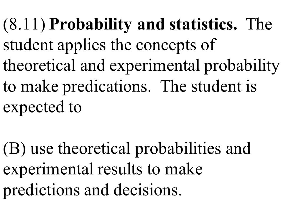 (8. 11) Probability and statistics