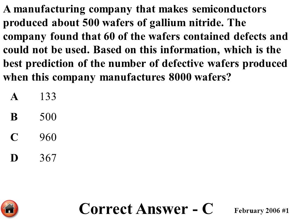 A manufacturing company that makes semiconductors produced about 500 wafers of gallium nitride. The company found that 60 of the wafers contained defects and could not be used. Based on this information, which is the best prediction of the number of defective wafers produced when this company manufactures 8000 wafers