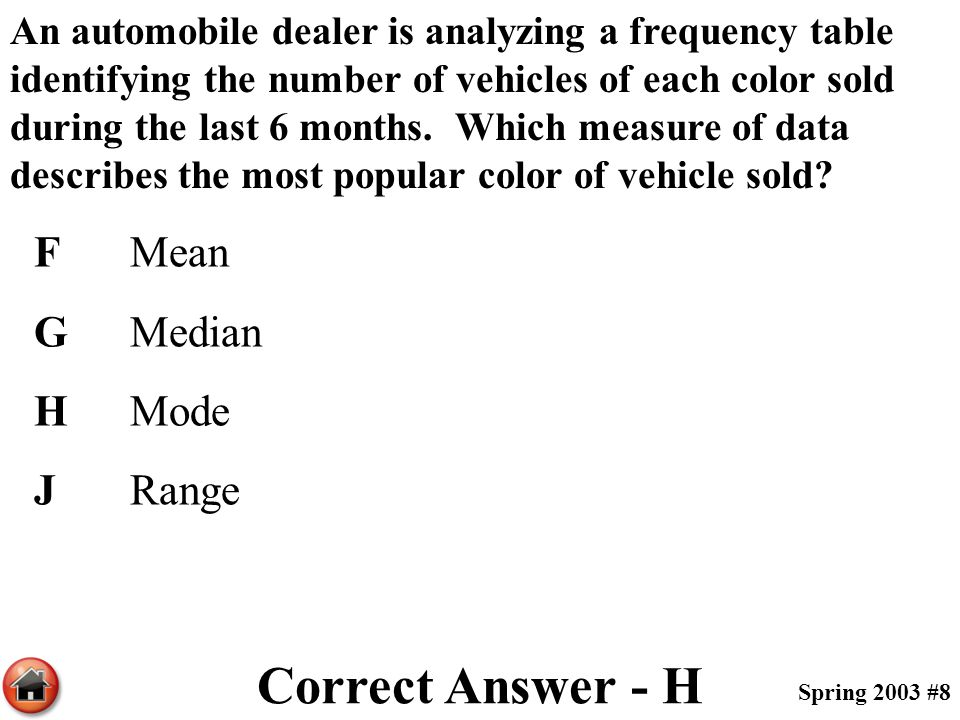 Correct Answer - H F Mean G Median H Mode J Range
