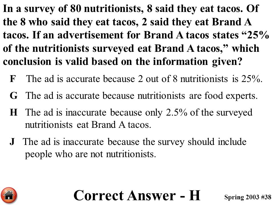In a survey of 80 nutritionists, 8 said they eat tacos