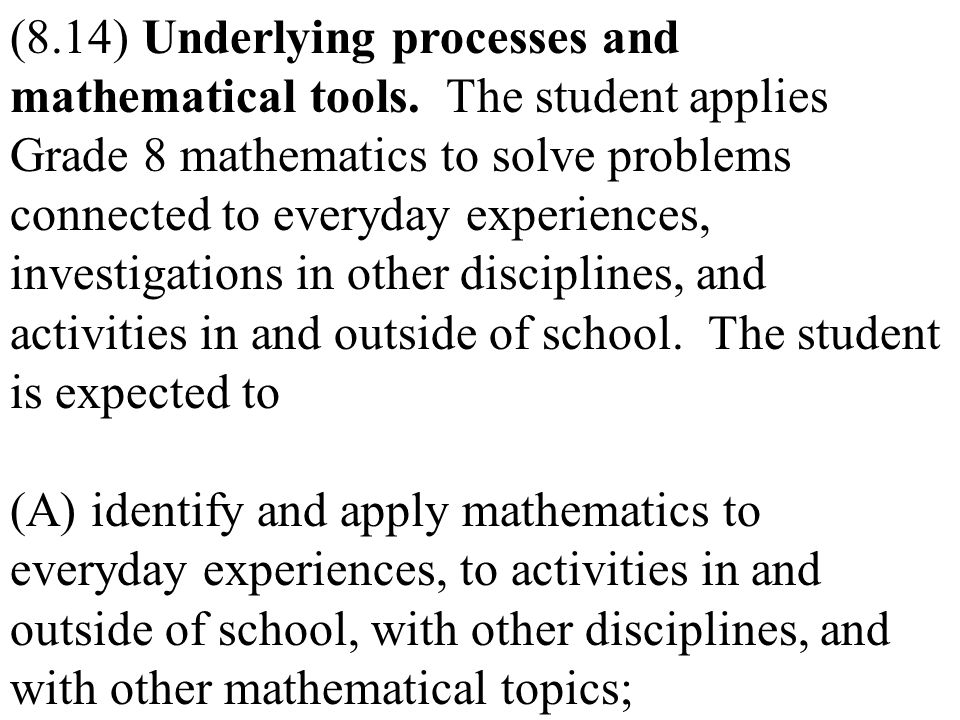 (8. 14) Underlying processes and mathematical tools