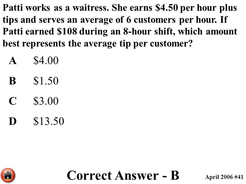 Correct Answer - B A $4.00 B $1.50 C $3.00 D $13.50