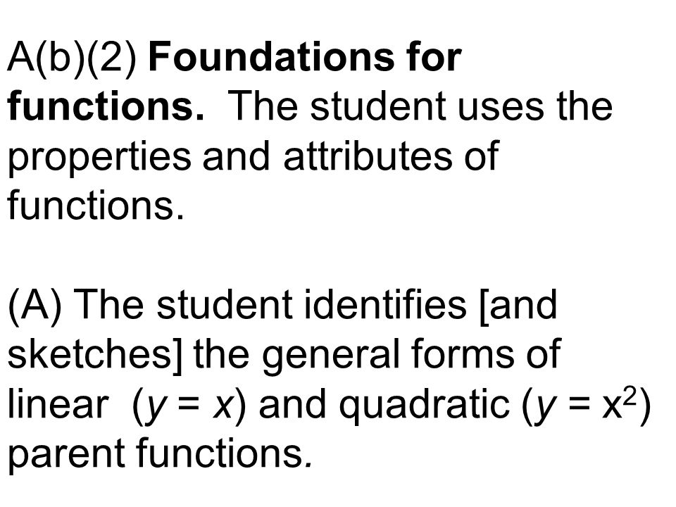 A(b)(2) Foundations for functions