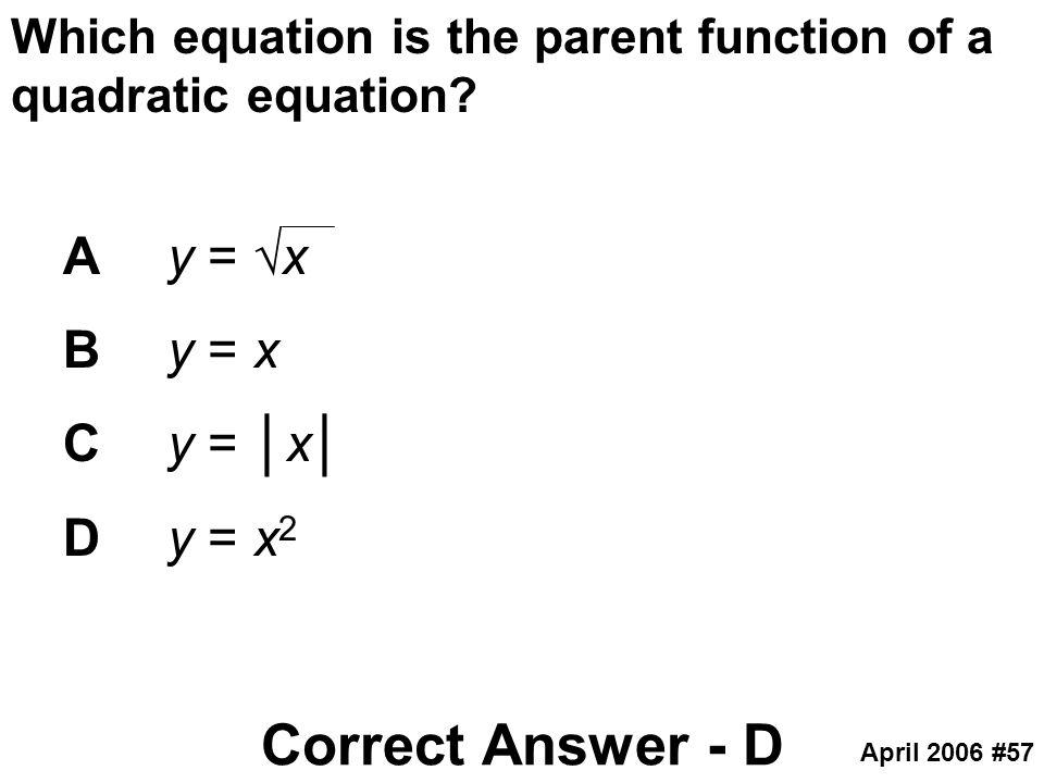 Correct Answer - D A y = √x B y = x C y = │x│ D y = x2