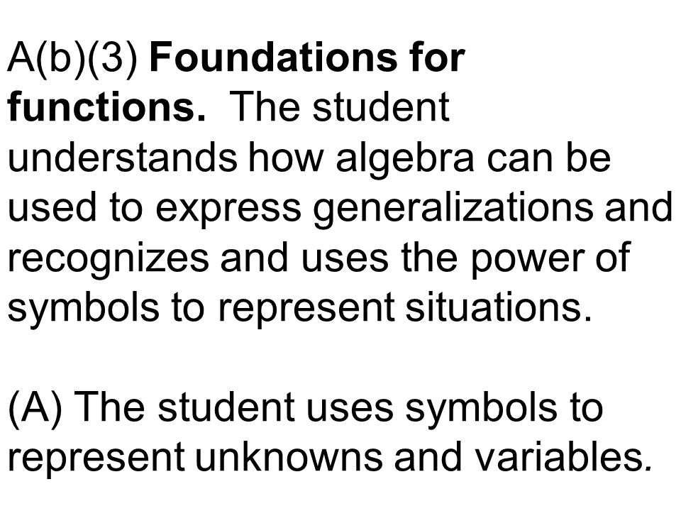 A(b)(3) Foundations for functions