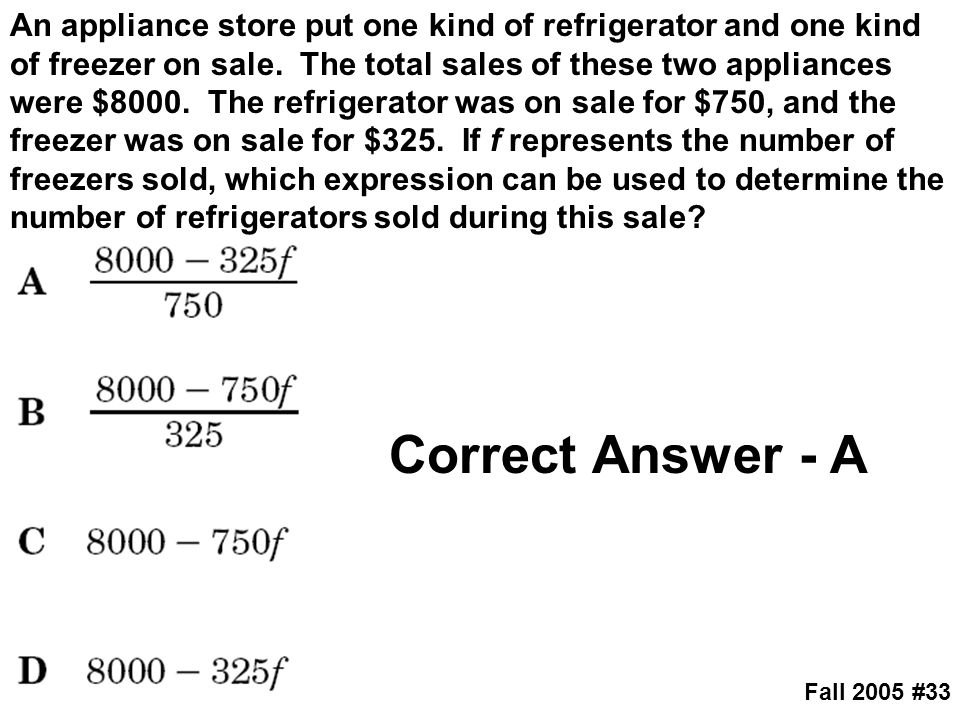 An appliance store put one kind of refrigerator and one kind of freezer on sale. The total sales of these two appliances were $8000. The refrigerator was on sale for $750, and the freezer was on sale for $325. If f represents the number of freezers sold, which expression can be used to determine the number of refrigerators sold during this sale
