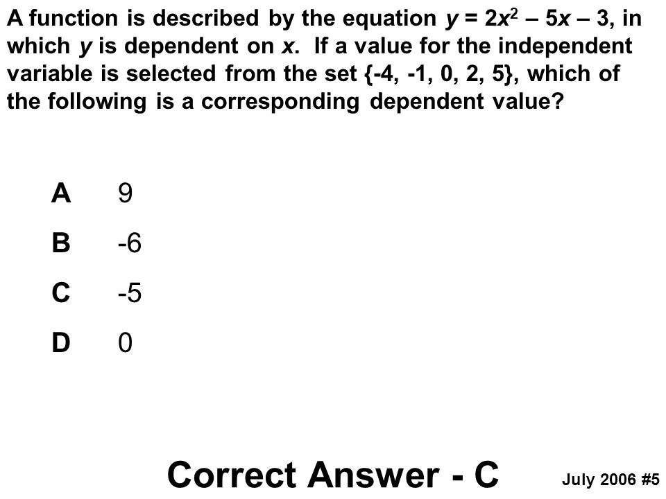 Correct Answer - C A 9 B -6 C -5 D 0