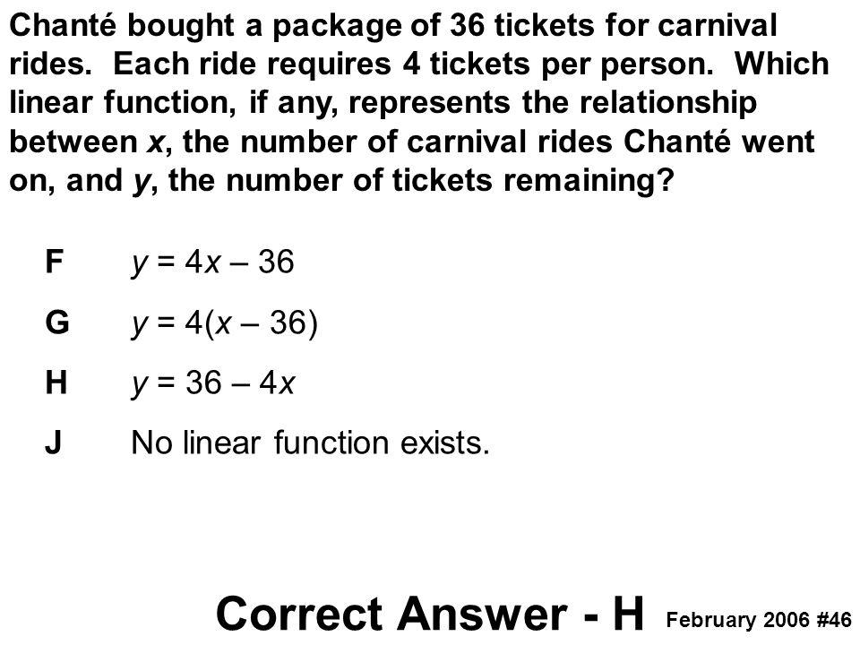 Correct Answer - H F y = 4x – 36 G y = 4(x – 36) H y = 36 – 4x
