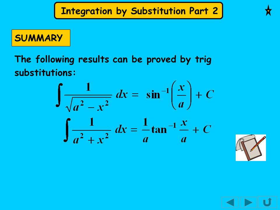 SUMMARY The following results can be proved by trig substitutions:
