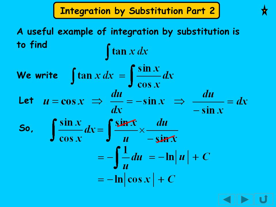 A useful example of integration by substitution is to find