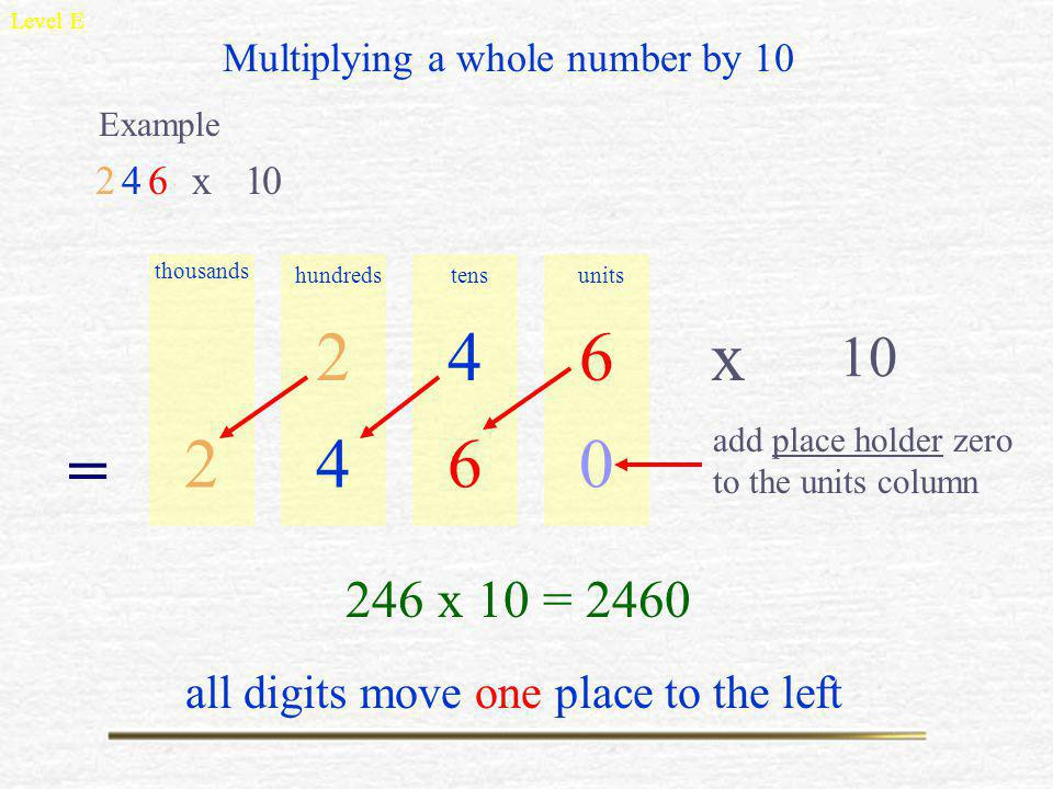 Level E Multiplying a whole number by 10. Example. 2. 4. 6. x. 1. thousands. hundreds. tens.