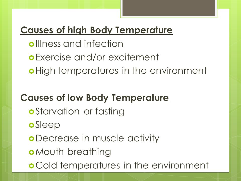 Causes of high Body Temperature