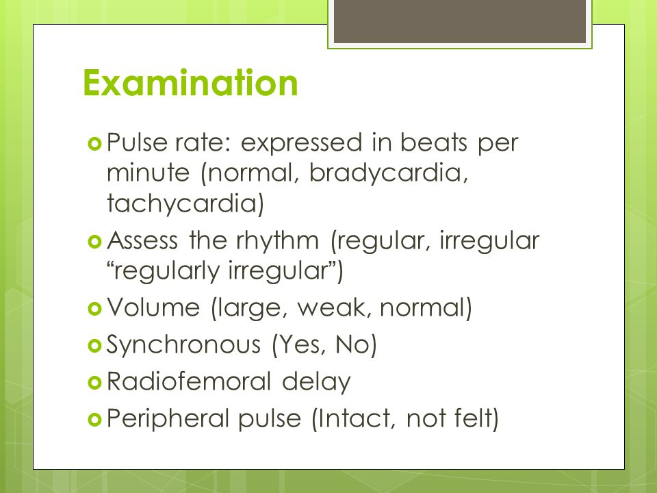 Examination Pulse rate: expressed in beats per minute (normal, bradycardia, tachycardia)