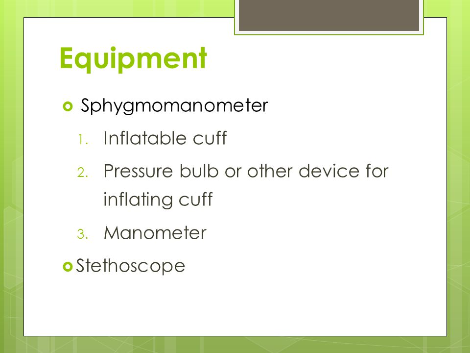 Equipment Sphygmomanometer Inflatable cuff
