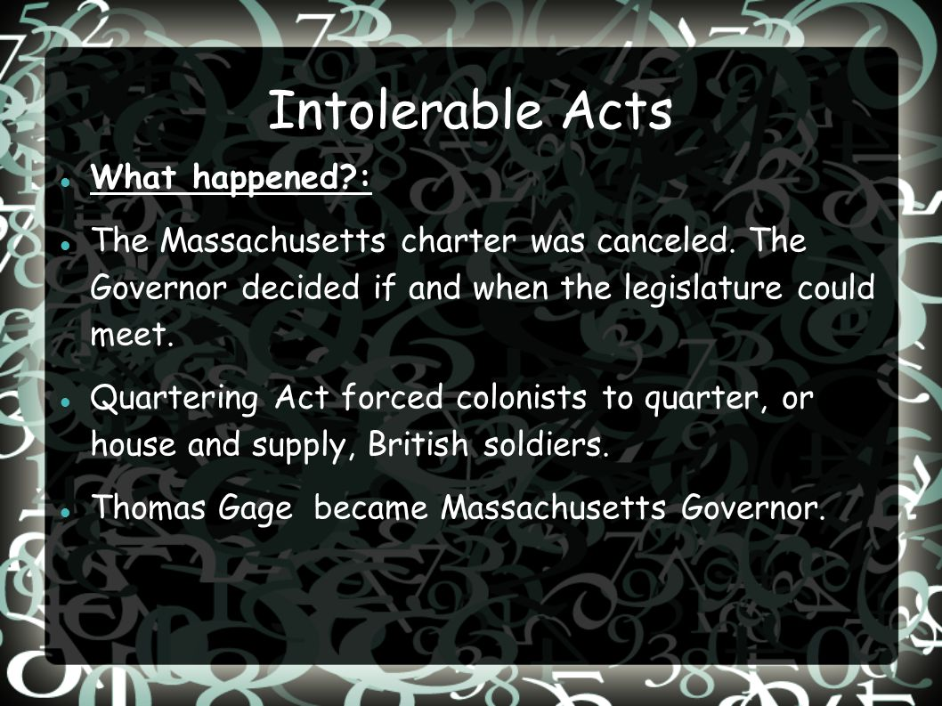 Intolerable Acts What happened :