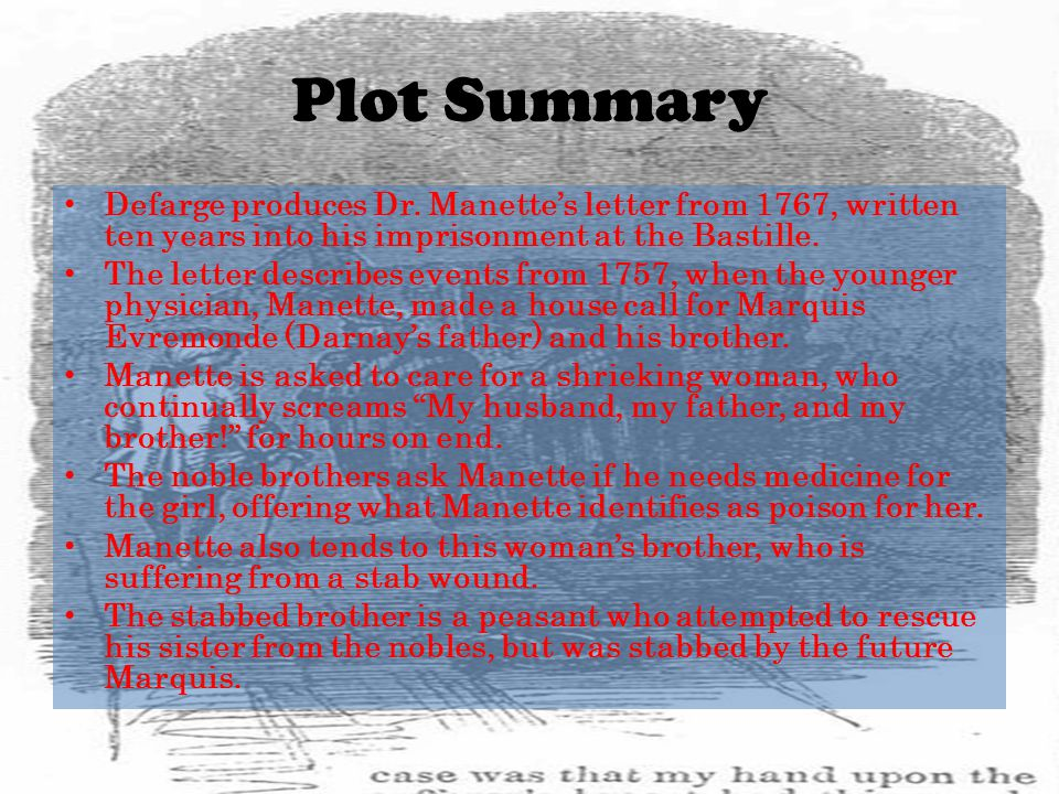 Plot Summary Defarge produces Dr. Manette's letter from 1767, written ten years into his imprisonment at the Bastille.