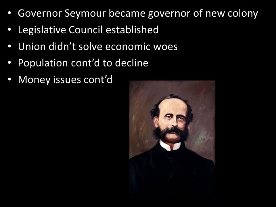 Governor Seymour became governor of new colony