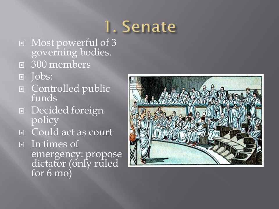 1. Senate Most powerful of 3 governing bodies. 300 members Jobs: