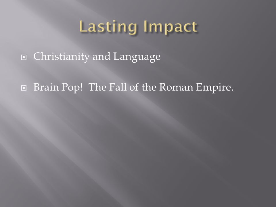 Lasting Impact Christianity and Language