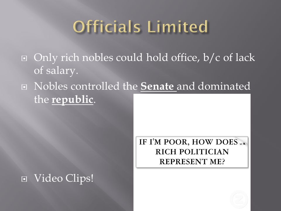 Officials Limited Only rich nobles could hold office, b/c of lack of salary. Nobles controlled the Senate and dominated the republic.