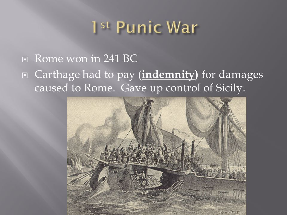 1st Punic War Rome won in 241 BC