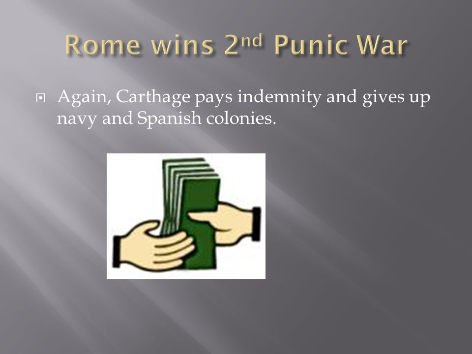 Rome wins 2nd Punic War Again, Carthage pays indemnity and gives up navy and Spanish colonies.