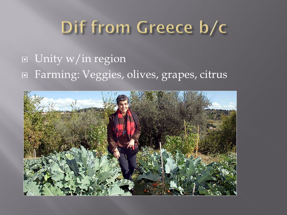Dif from Greece b/c Unity w/in region