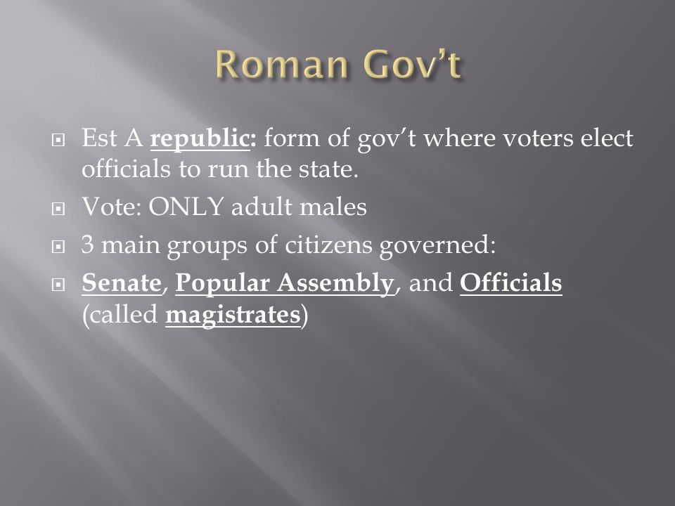 Roman Gov't Est A republic: form of gov't where voters elect officials to run the state. Vote: ONLY adult males.