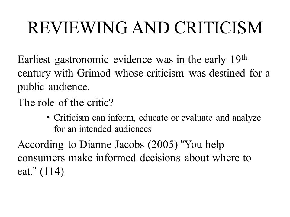 REVIEWING AND CRITICISM